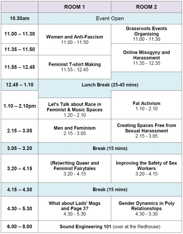 LaDIYfest Sheffield 2013 workshop timetable