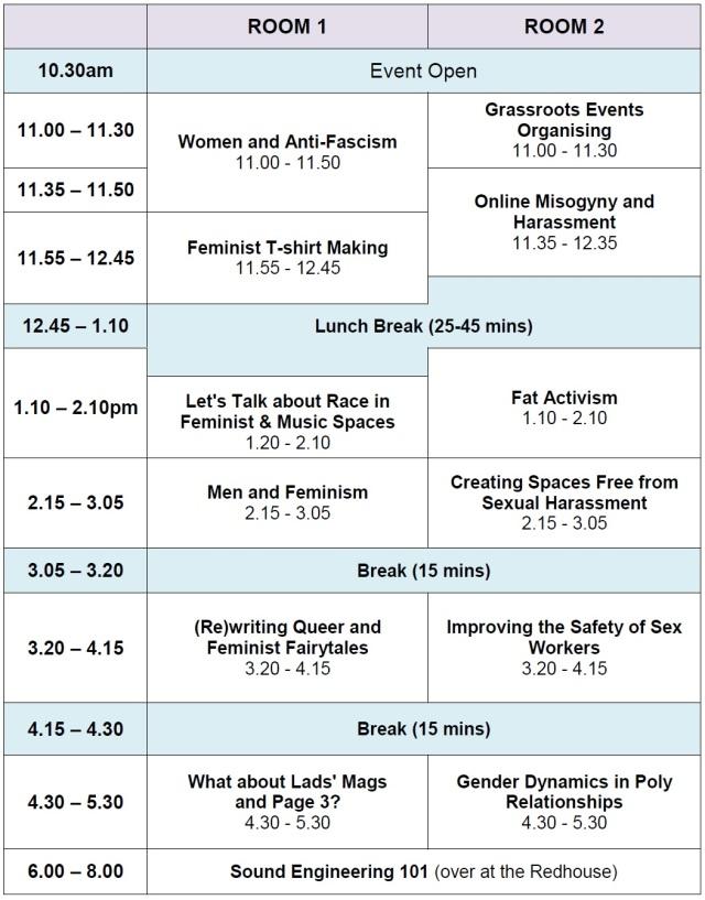 LaDIYfest Sheffield 2013 workshop timetable